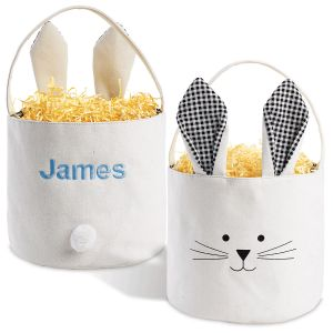 Black Personalized Bunny Ears Basket