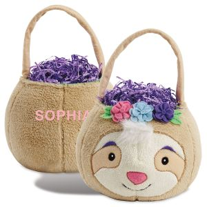 Personalized Plush Sloth Easter Basket