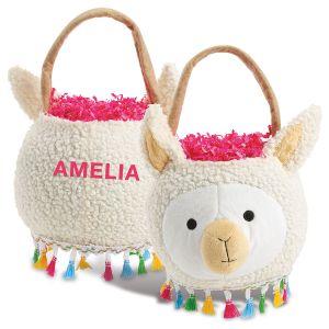 Personalized Plush Llama Easter Basket