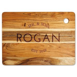Acacia Mr. & Mrs. Personalized Large Cutting Board