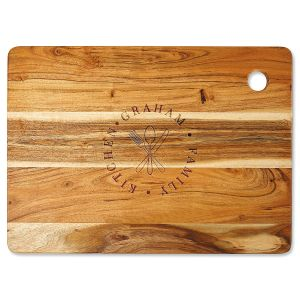 Acacia Family Stamp Personalized Large Cutting Board
