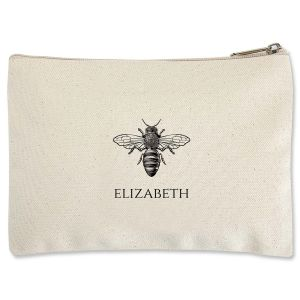 Bee Personalized Small Canvas Pouch