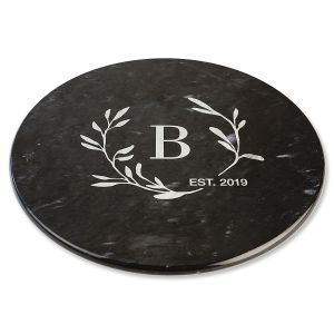 Circle Laurel Monogrammed Black Marble Lazy Susan