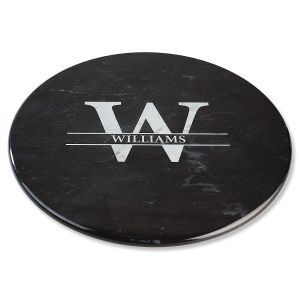 Black Marble Lazy Susan - Initial Last Name