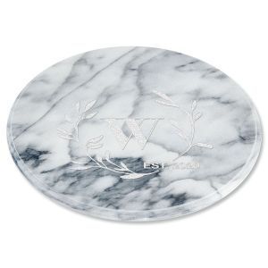 Circle Laurel Monogrammed White Marble Lazy Susan