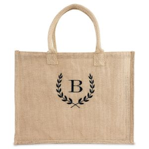 Personalized Large Jute Tote - Black Thread