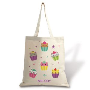 Personalized Kitten Cupcakes Natural Canvas Tote
