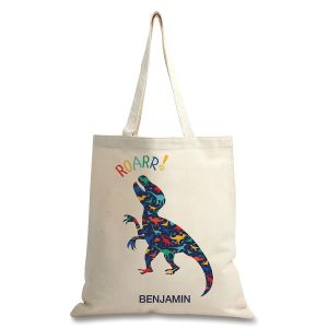 Personalized Dinosaur Natural Canvas Tote
