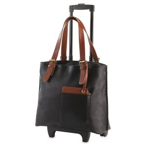 Personalized Chicago Rolling Tote Black