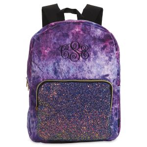 Personalized Purple Crushed Velvet & Glitter Backpack