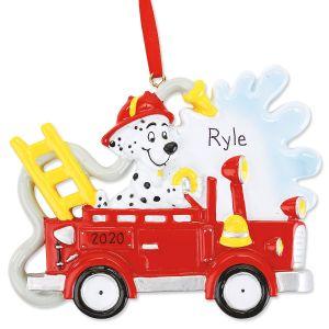 Personalized Dalmatian Fire Truck Ornament