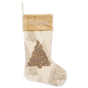 Gold & Silver Tree Personalized Christmas Stocking
