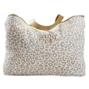 Personalized Natural Leopard Canvas Tote