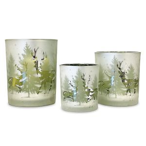 Winter Forest Frosted Tealight Holders