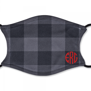 Personalized Adult Black and Grey Plaid Mask