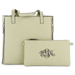 Celery Carry-All Nora Tote Bag with Matching Personalized Crossbody Purse