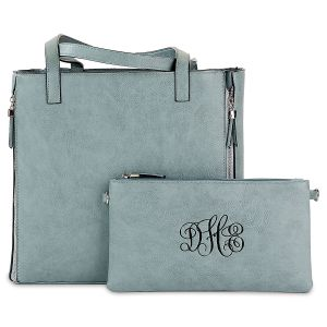 Slate Blue Carry-All Nora Tote Bag with Matching Personalized Crossbody Purse