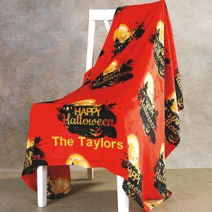 Personalized Velvet Touch Haunted House Throw