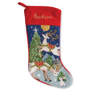 Reindeer Heirloom Needlepoint Personalized Christmas Stocking