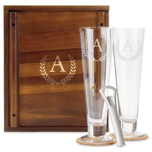 Personalized Pilsner Beer Glass Box Set - Initial Wreath