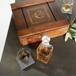 Personalized Whiskey Gift Box Set with Decanter