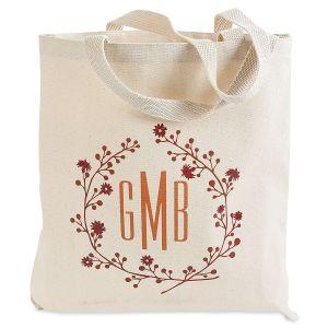 Personalized Wreath Monogram Canvas Tote Bag