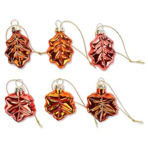 12 Fall Leaves Glass Ornaments
