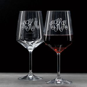 Personalized Red Stemmed Wine Glass