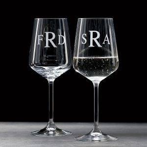 Personalized White Stemmed Wine Glass