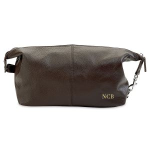 Monogrammed Genuine Leather Toiletry Bag