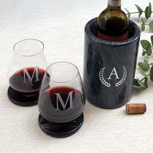Personalized Black Marble Wine Chiller/Holder