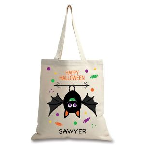 Personalized Natural Canvas Bat Halloween Tote