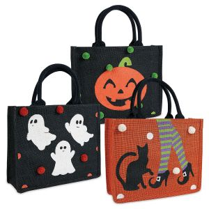 Personalized Trick or Treat Bags with Pom Poms