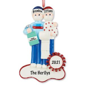 Personalized Quarantine Couple Christmas Ornament
