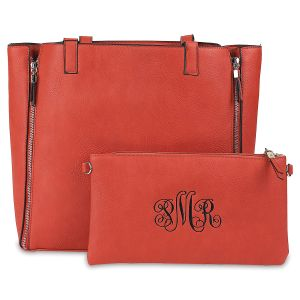 Burnt Orange Carry-All Nora Tote Bag with Matching Personalized Crossbody Purse