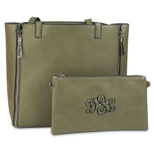Army Green Carry-All Nora Tote Bag with Matching Personalized Crossbody Purse