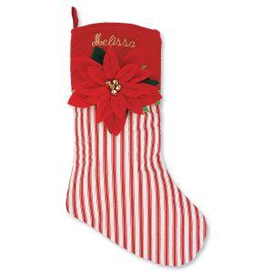 Personalized Striped Poinsettia Stocking