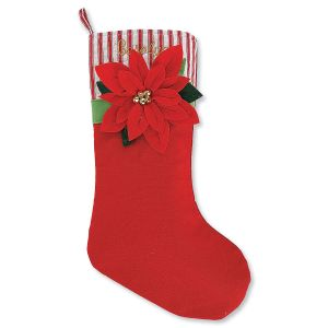 Personalized Red Poinsettia Stocking