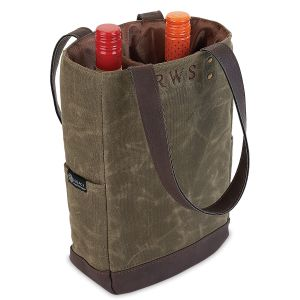 Personalized Waxed Canvas Wine Cooler Bag