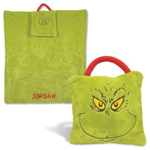 Personalized Grinch Travel Blanket