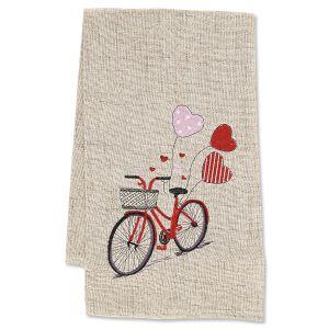 Heart Bicycle Valentine Dish Towel