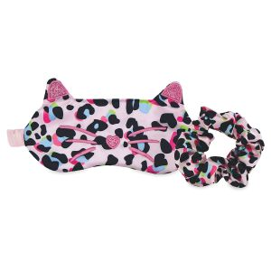 Pink Leopard Eye Mask and Scrunchie Set