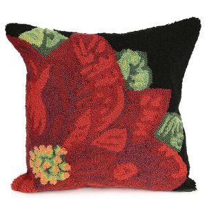 Poinsettia Black Pillow