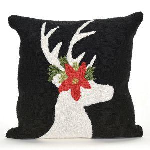 Reindeer Black Pillow