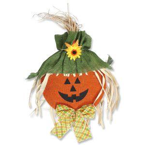Hanging Halloween Burlap Pumpkin Face