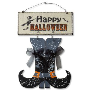 Happy Halloween Boots Plaque