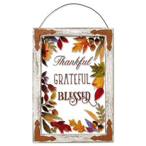Thankful Grateful Blessed Plaque