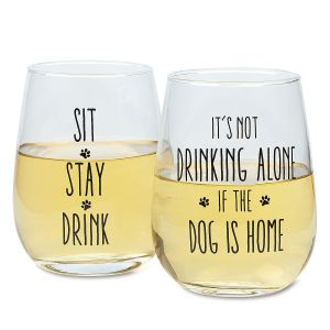Dog Owners Stemless Wine Glasses