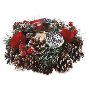 Pinecones & Rosette Tealight Holder