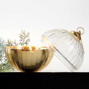 Etched Glass Ornament Ball Candle